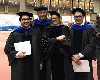 2016 PhD grads Marc Polizzi, Zack Bowersox, Rebecca Miller, and Chris Patane